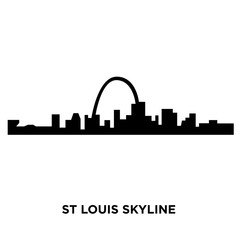 st louis skyline silhouette on white background, vector illustration