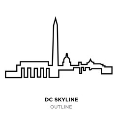dc skyline outline on white background, vector illustration