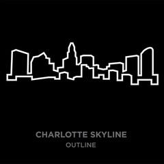 white border charlotte skyline outline on black background, vector illustration