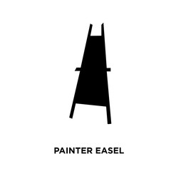 painter easel silhouette on white background, vector illustration