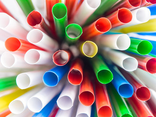 Drinking straws in many colors captured from many angles. Carrying summer hot mood with fresh and vivid shapes and colors.