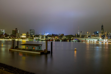 Panorama Hamburg Harbor at night