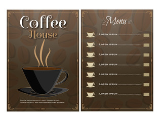 Coffee House Menu Card design with front and back page view.