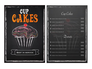 Cup Cakes Menu Card design with front and back page view.