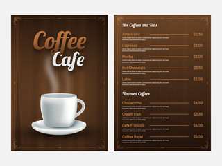 Coffee Cafe Menu Card design with front and back page view.