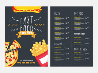 Fast food Menu Card design with front and back page view.