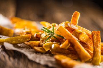 Potato Fries. Homemade potato fries with salt and rosemary