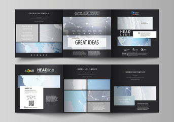 The black colored minimalistic vector illustration of the editable layout. Two creative covers design templates for square brochure. Technology concept. Molecule structure, connecting background.