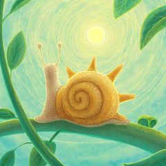 Snail that love sunshine very much. Digital illustration