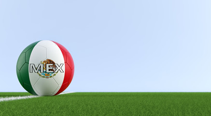 Soccer ball in mexican national colors on a soccer field. Copy space on the right side - 3D Rendering
