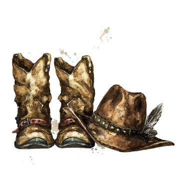 Cowboy Boots and Hat. Watercolor Illustration.