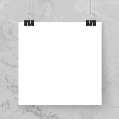 Poster binder clips mock up grey grunge wall square