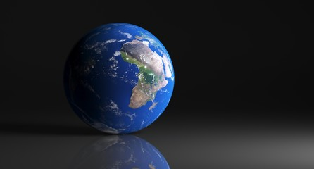 3D Rendering Of  High Detailed Earth Globe On Dark Studio With Reflective Surface The Elements Of This Image Furnished By NASA