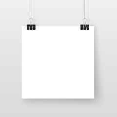 Poster on binder clips simple mock up set square white