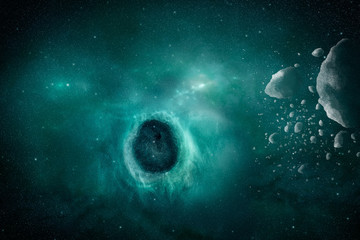 Black hole eat stars with nebula and meteorites