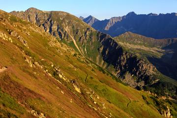 Poland, Tatra Mountains, Zakopane - track to Swinica peak, Przelecz pod Swinica Pass, Liliowe peak with High Tatra mountain range panorama in background