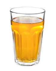 Glass of fresh apple juice on white background