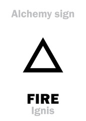 Alchemy Alphabet: FIRE (Ignis), one of primary elements, state: Plasma, flame. Medieval alchemical sign (mystic hieroglyphic symbol).
