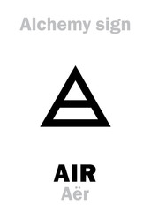 Alchemy Alphabet: AIR (Aër), one of primary elements, state: Gas, fluid. Medieval alchemical sign (mystic hieroglyphic symbol).