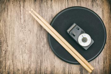 Drum Sticks, Practice Pad And A Metronome