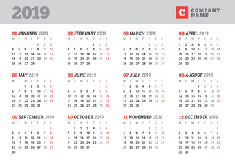 Calendar template for 2019 year. Stationery design. Week starts on Monday. 12 Months on the page. Vector illustration