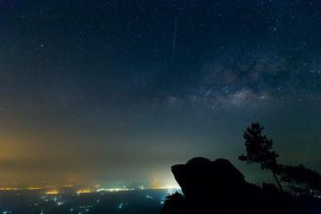 Milky Way on Night Sky at Ramkhamhaeng National Park  Sukhothai  Thailand