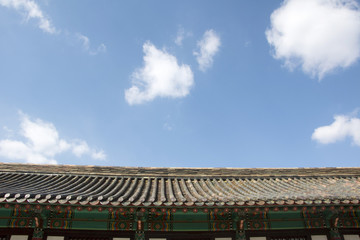 Beautiful old palace with blue sky in Korea