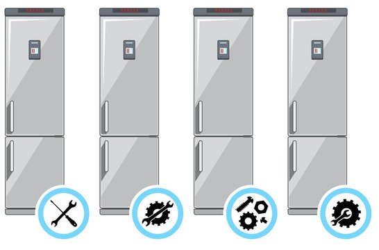 Repair service concept. Simple icons set: wrench, screwdriver, hammer and gear. Mending of refrigerators. Vector illustration.