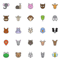 Animals heads filled outline icons set, line vector symbol collection, linear colorful pictogram pack. Signs, logo illustration, Set includes icons as elephant head, snail,  owl, giraffe, boar, sheep