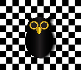 Black owl icon pop art background