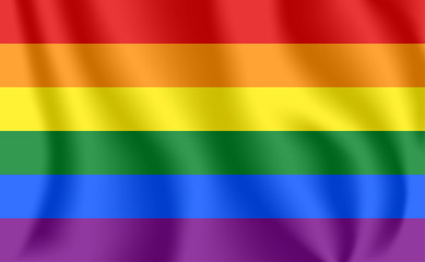 Gay flag. Waving flag of homosexuality. LGBT rainbow flag. Gays, Lesbians, Bisexuals and Transgenders pride flag. Queer symbol.