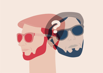 Question concept poster design. Portrait of young or adult bearded man with sun glasses from different angles. Vector illustration.