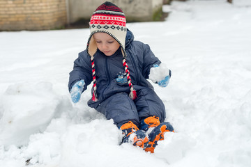 Little boy sitting in snow and playing