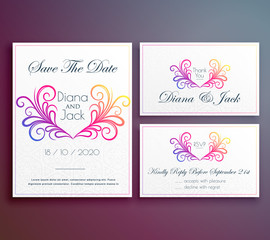 cute wedding invitation card with floral heart