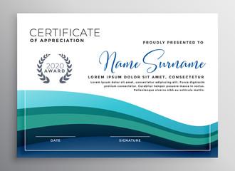 stylish blue wave certificate of appreciation template