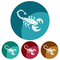 Circular, flat scorpion (white silhouette) icon. Four color variations. Isolated on white