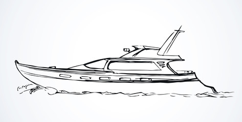 Yacht. Vector drawing