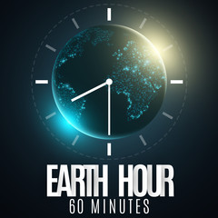 Earth Hour. Futuristic planet Earth. 60 minutes without electricity. 3D paper letters. Sunrise. Global holiday. Clock go. Abstract world map. Paper dial. Vector illustration