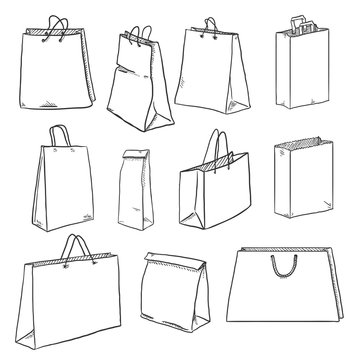 Vector Set of Sketch Shopping Bags