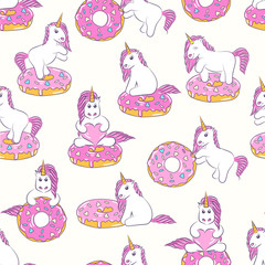 Seamless pattern with cute baby unicorns and donuts. Background for kids design. Pattern can be used for wallpaper, web page, surface textures, package