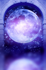 Wall Mural - a gothic gate with Moon and starry space an reflection and copy space like magic background