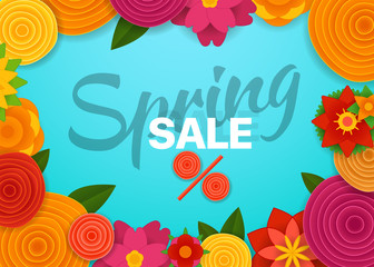 Spring sale vector concept. Marketing banner template