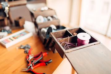 Needlework hobby, handicraft tools, closeup