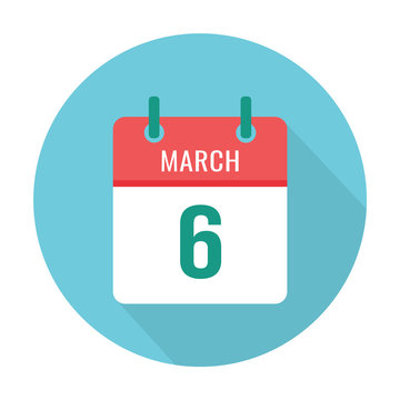 March 6 calendar icon flat. Reminder, date. International Dentist's Day
