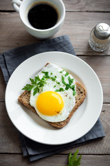 Aluminium Prints Egg Fried Egg on Wholegrain Toast