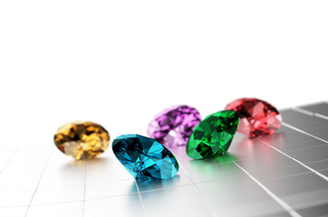 3D Colorful Diamonds with white  background.