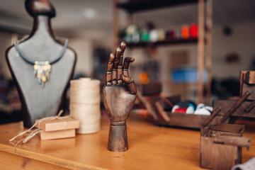 Needlework tools on table in workshop, bijouterie