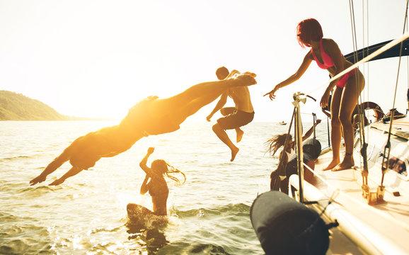 Friends having fun on the boat