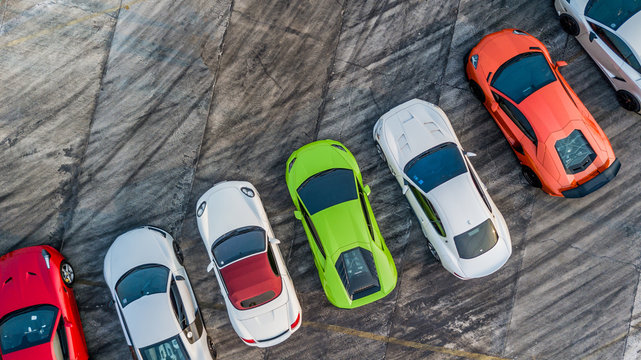 Top view super car on asphalt road, Aerial view super car show.