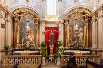 Lisbon, Portugal - October 24, 2016: Chapels in Baroque style in the interior of the Santo Antonio de Lisboa Church. Built on the Saint Anthony of Lisbon aka of Padua or Padova birth location.